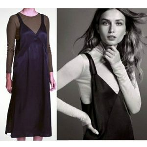 H&M Black Satin Cami Tank Top Midi Dress